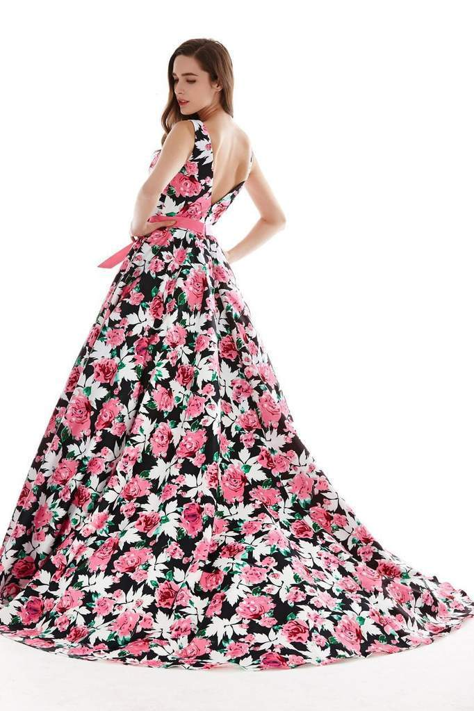 Angela & Alison - 62046 Sleeveless Bateau Neck Floral Ballgown In Black and Floral