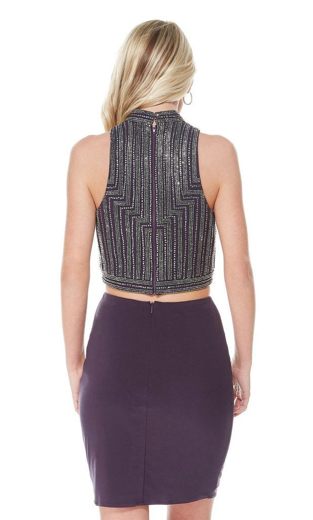 Alyce Paris - 1341 Geometric Beaded Two-Piece Short Dress In Gray and Purple
