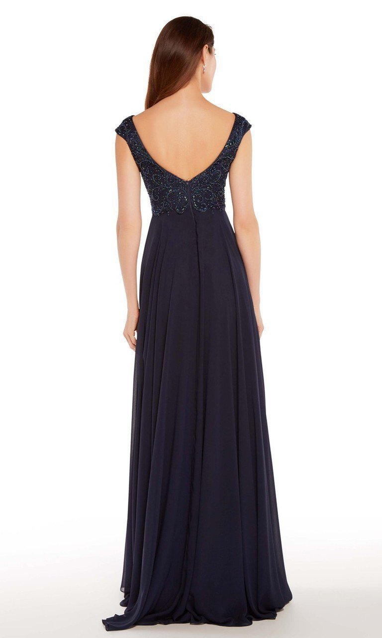 Alyce Paris - Embroidered V-neck Chiffon A-line Dress 27246 in Blue