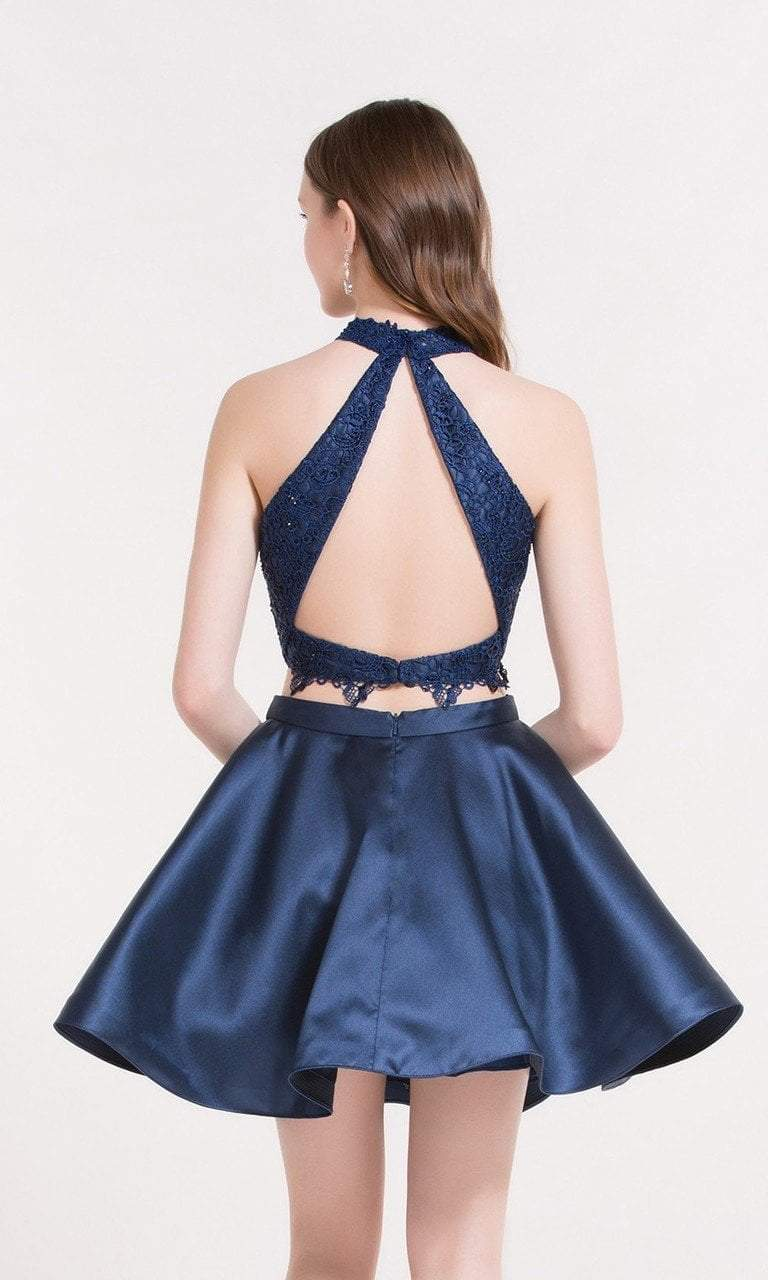 Alyce Paris - 3735 Two Piece Halter Lace Cocktail Dress in Blue