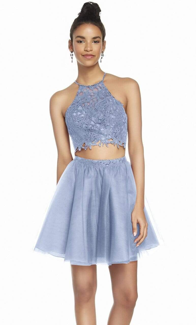 Alyce Paris - 3824 Two Piece Embellished Tulle A-line Cocktail Dress Special Occasion Dress 000 / French Blue