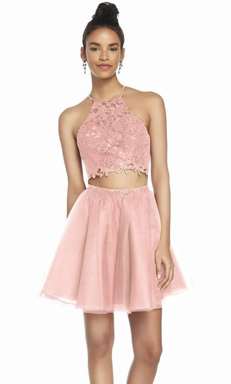 Alyce Paris - 3824 Two Piece Embellished Tulle A-line Cocktail Dress Special Occasion Dress 000 / Rosewater