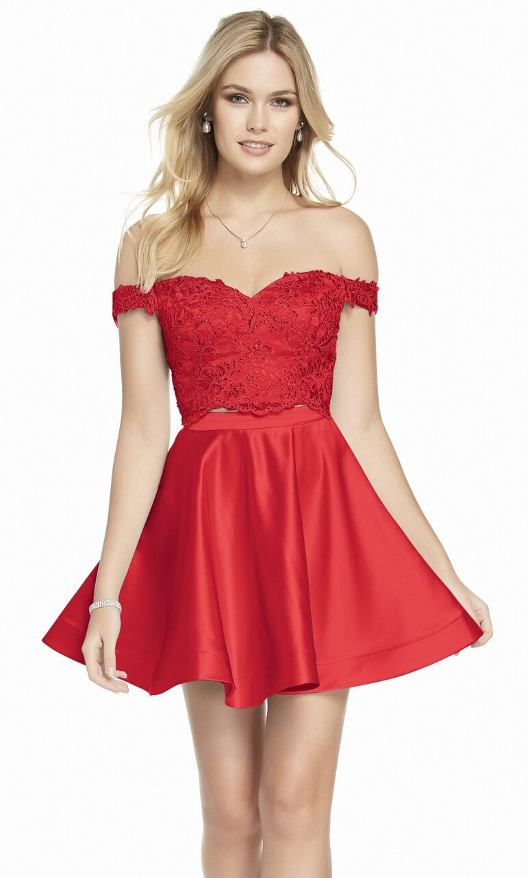 Alyce Paris - 3827 Beaded Two Piece Off-Shoulder Cocktail Dress In Red