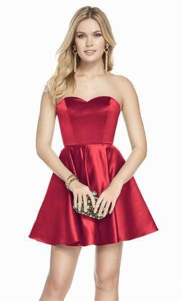 Alyce Paris - 3871 Strapless Sweetheart Luxe Silk Satin Cocktail Dress Special Occasion Dress 000 / Red