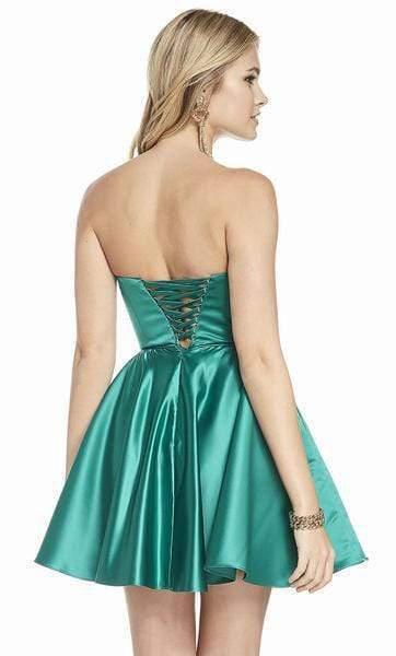 Alyce Paris - 3871 Strapless Sweetheart Luxe Silk Satin Cocktail Dress Special Occasion Dress