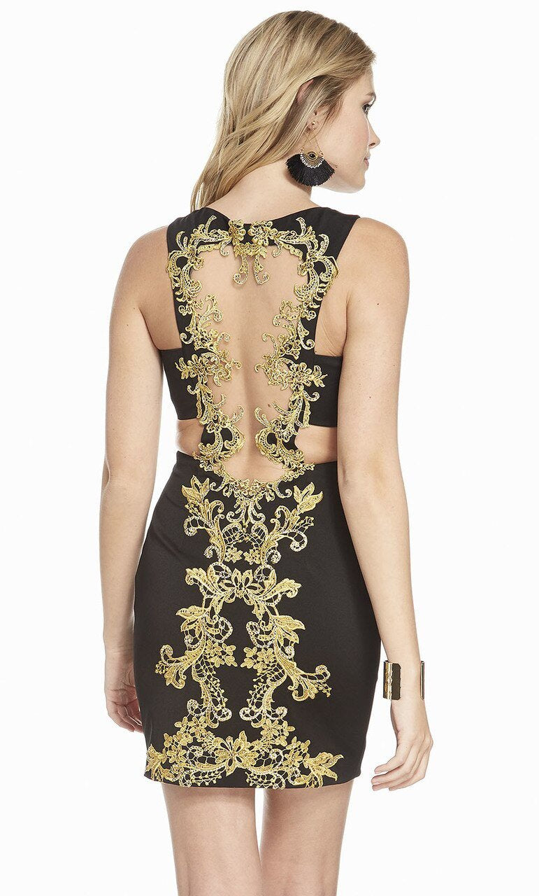 Alyce Paris - 4083 Beaded Lace Cutout Sheath Cocktail Dress In Black and Gold