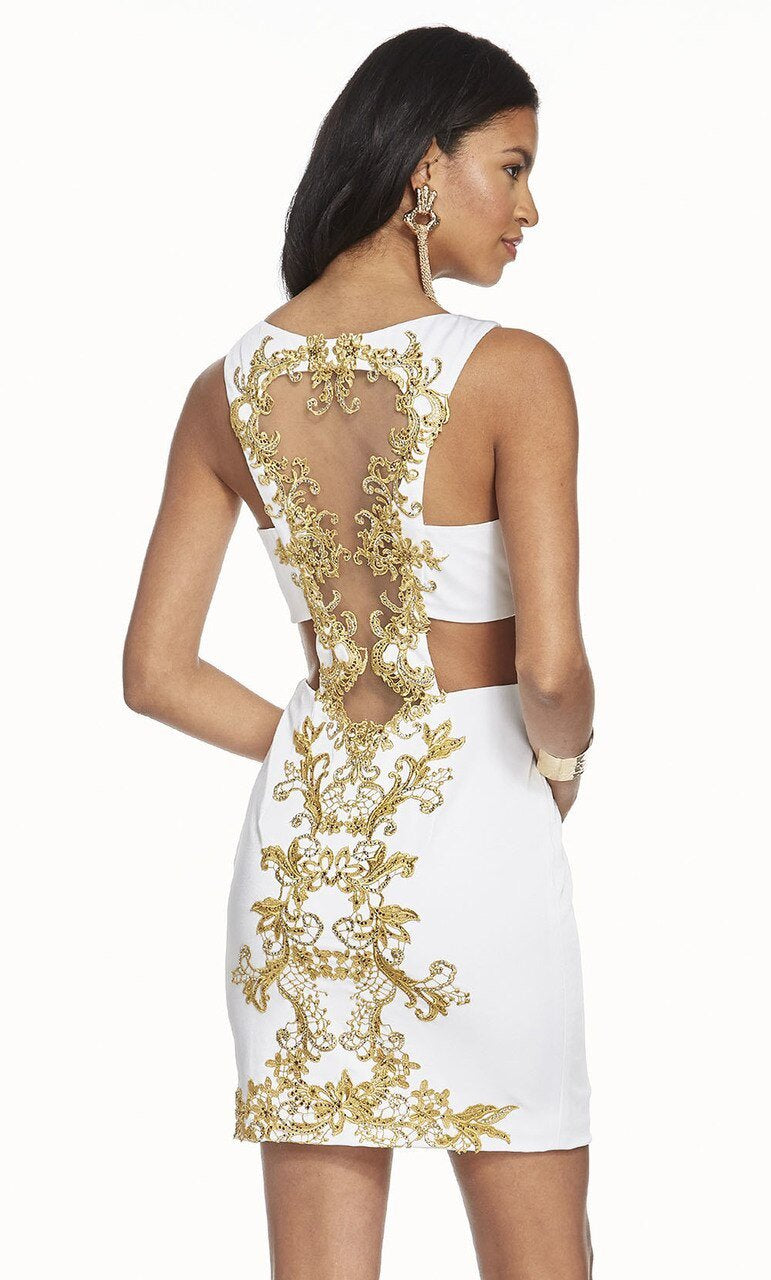 Alyce Paris - 4083 Beaded Lace Cutout Sheath Cocktail Dress In White and Gold