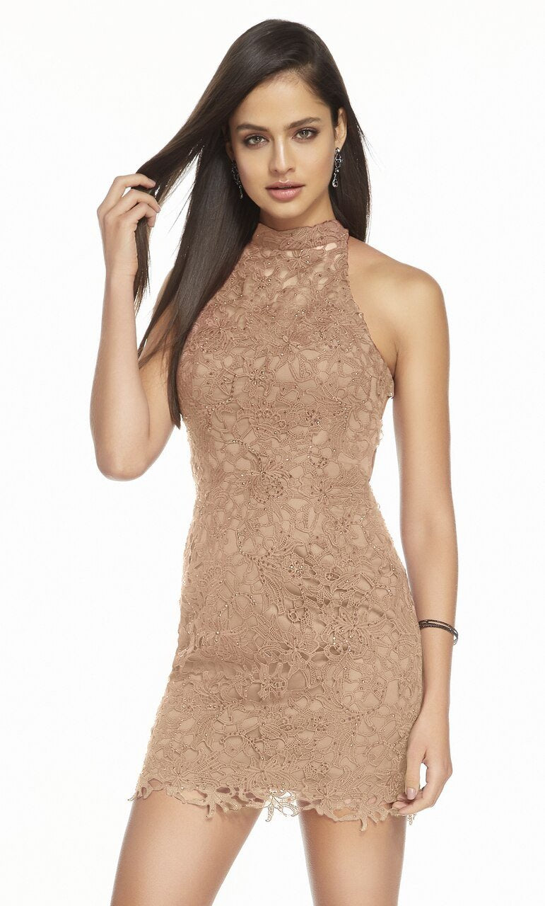 Alyce Paris - 4139 Short Beaded Lace Halter Dress In Nude