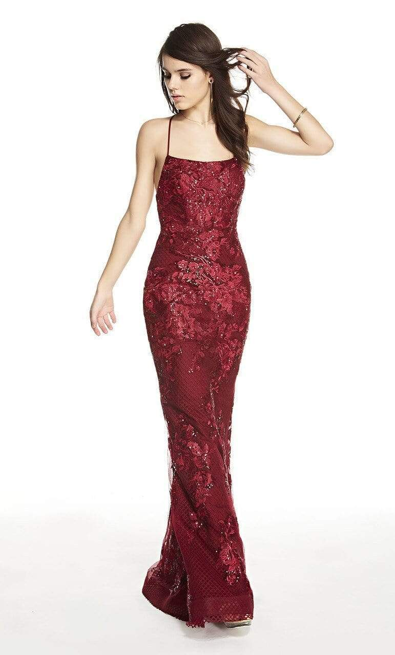 Alyce Paris - 60594 Embroidered Criss-Cross Back Strap Long Dress Special Occasion Dress 000 / Wine