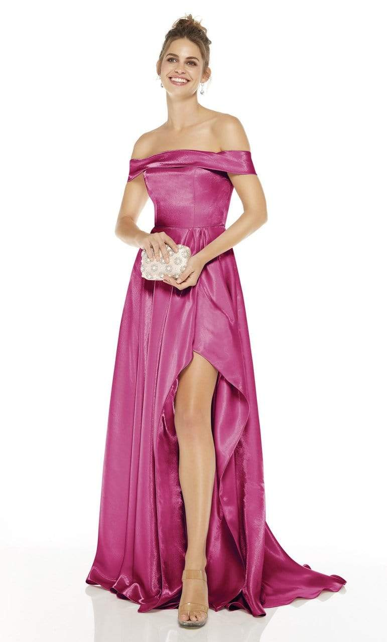 Alyce Paris - 60626 Off Shoulder High-Low Satin Gown Evening Dresses 0 / Fuchsia