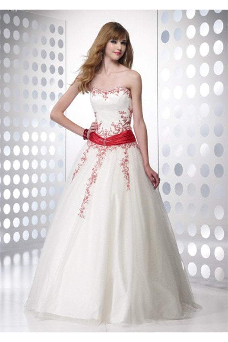 Alyce Paris - 6495 Strapless Embellished Tulle Ballgown In White and Red