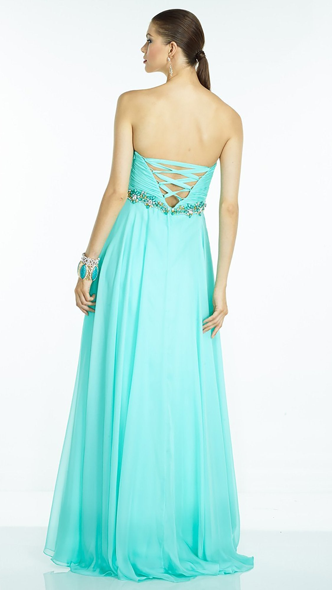 Alyce Paris Jeweled Strapless Ruched Sweetheart A-Line Dress 35811 In Green