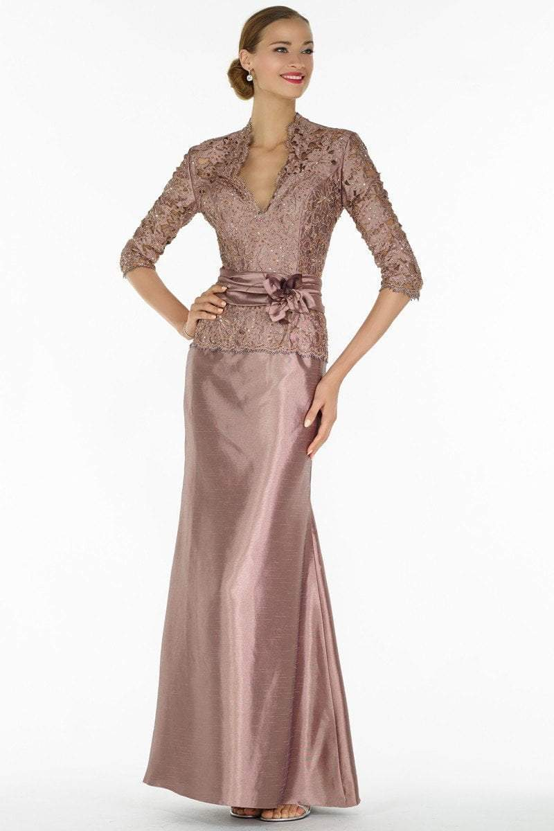 Alyce Paris Black Label - 29143 Classy Lace V Neck Mermaid Gown in Brown