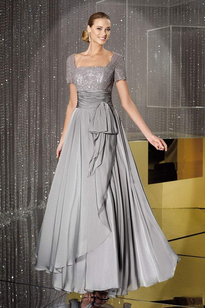 Alyce Paris Square Neck Lace and Chiffon Gown 29264 in Gray