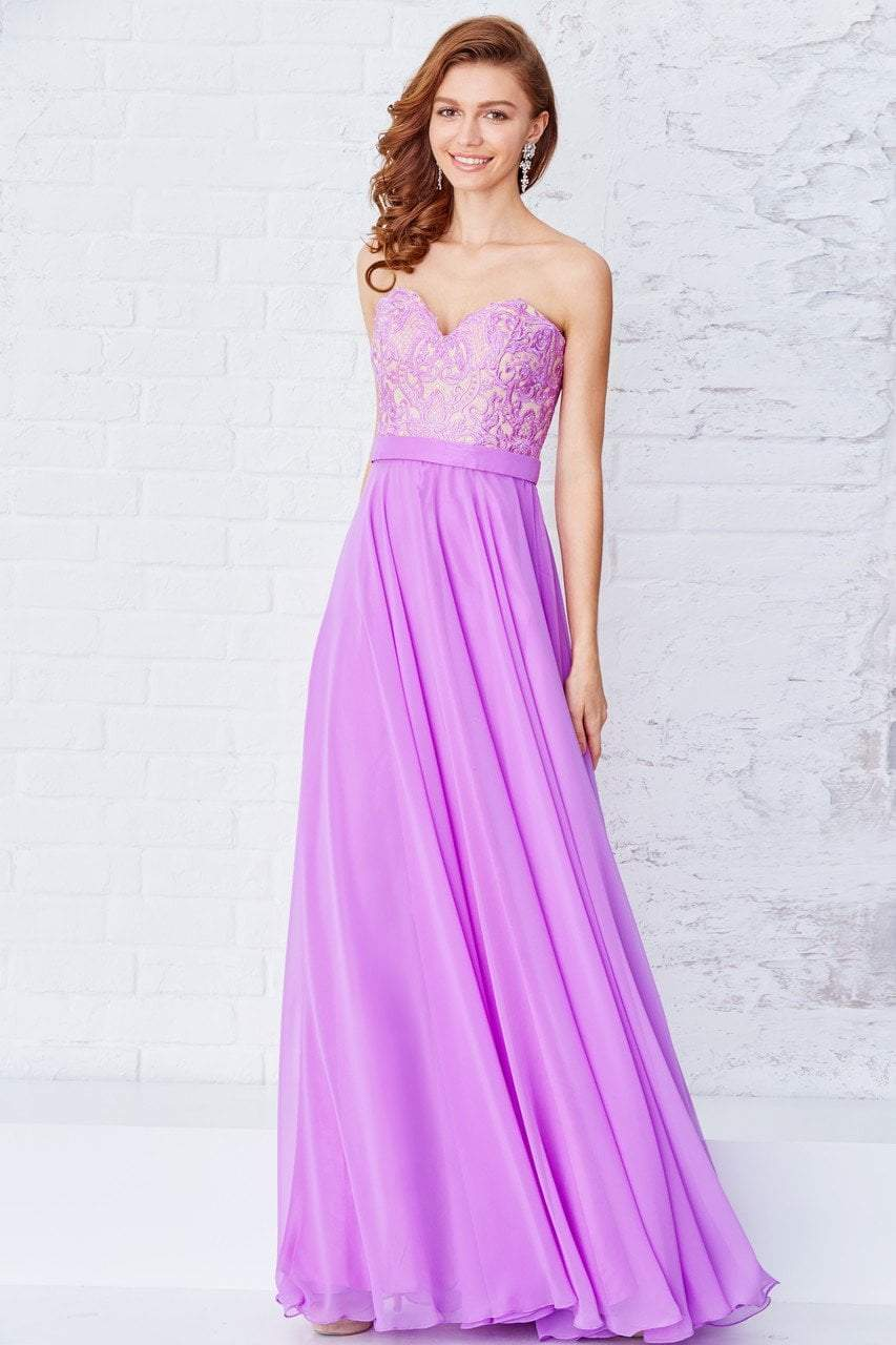 Angela & Alison - Embroidered Sweetheart A-line Dress 71112 in Purple