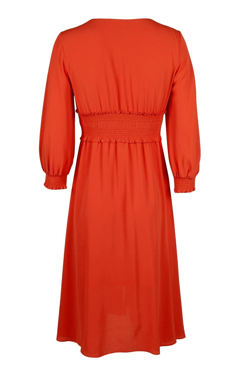 Adrianna Papell - AP1D103500 Long Sleeve V-neck Ruched A-line Dress In Orange