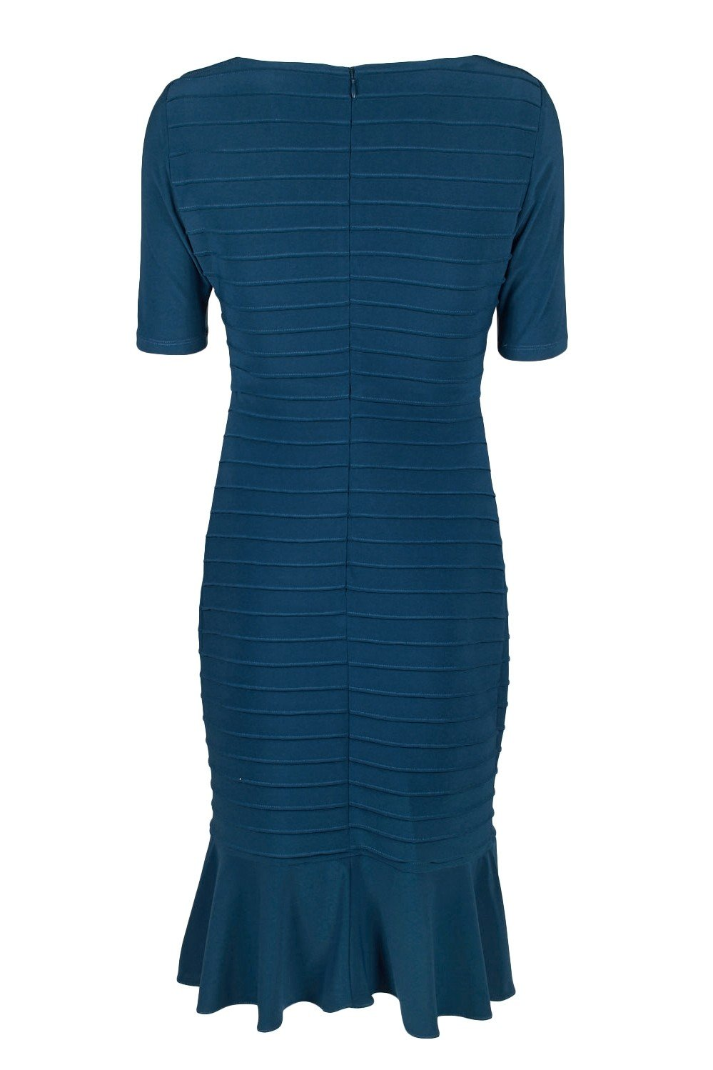 Adrianna Papell - AP1D103506 Bateau Ribbed Jersey Sheath Dress In Blue
