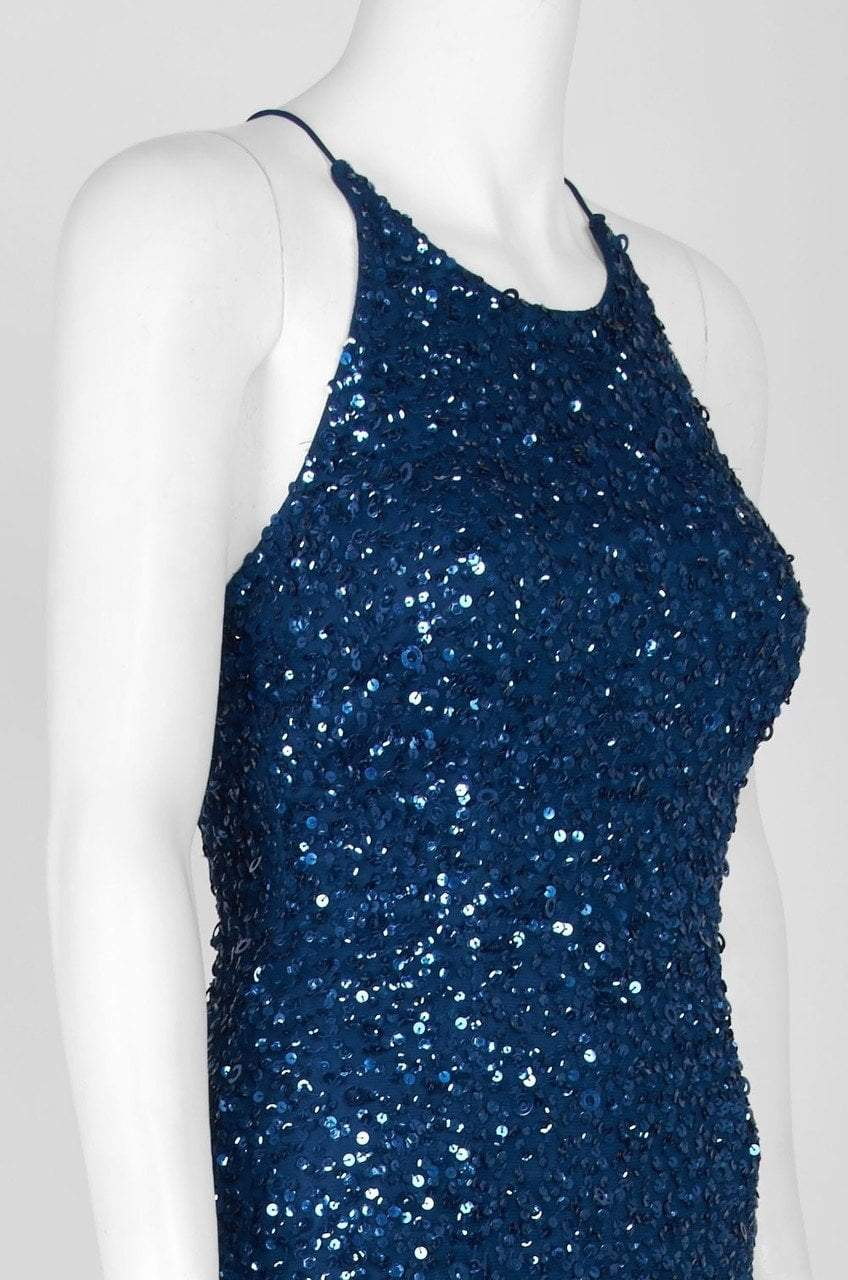 Adrianna Papell - AP1E202438 Crossed String Back Sequined Halter Gown in Blue