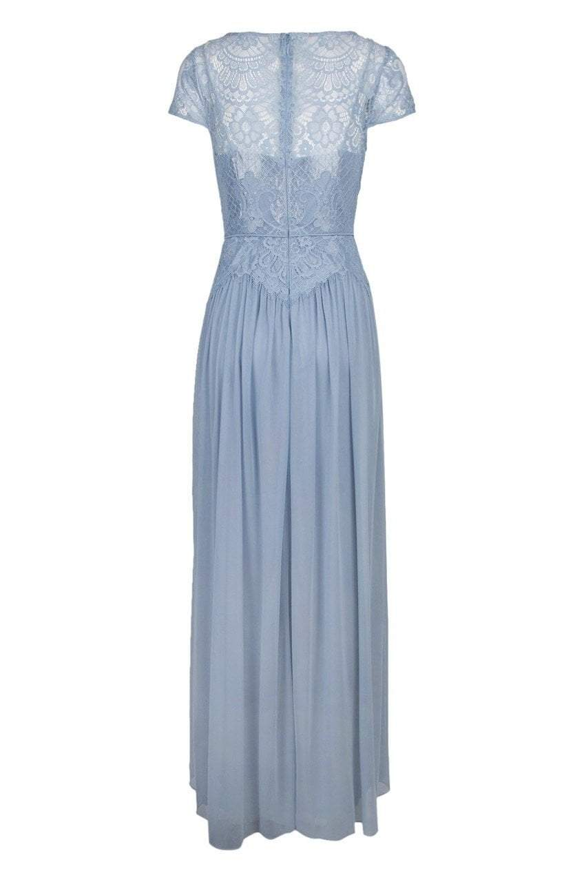 Adrianna Papell - AP1E203166 Lace Bateau Jersey A-line Dress in Blue