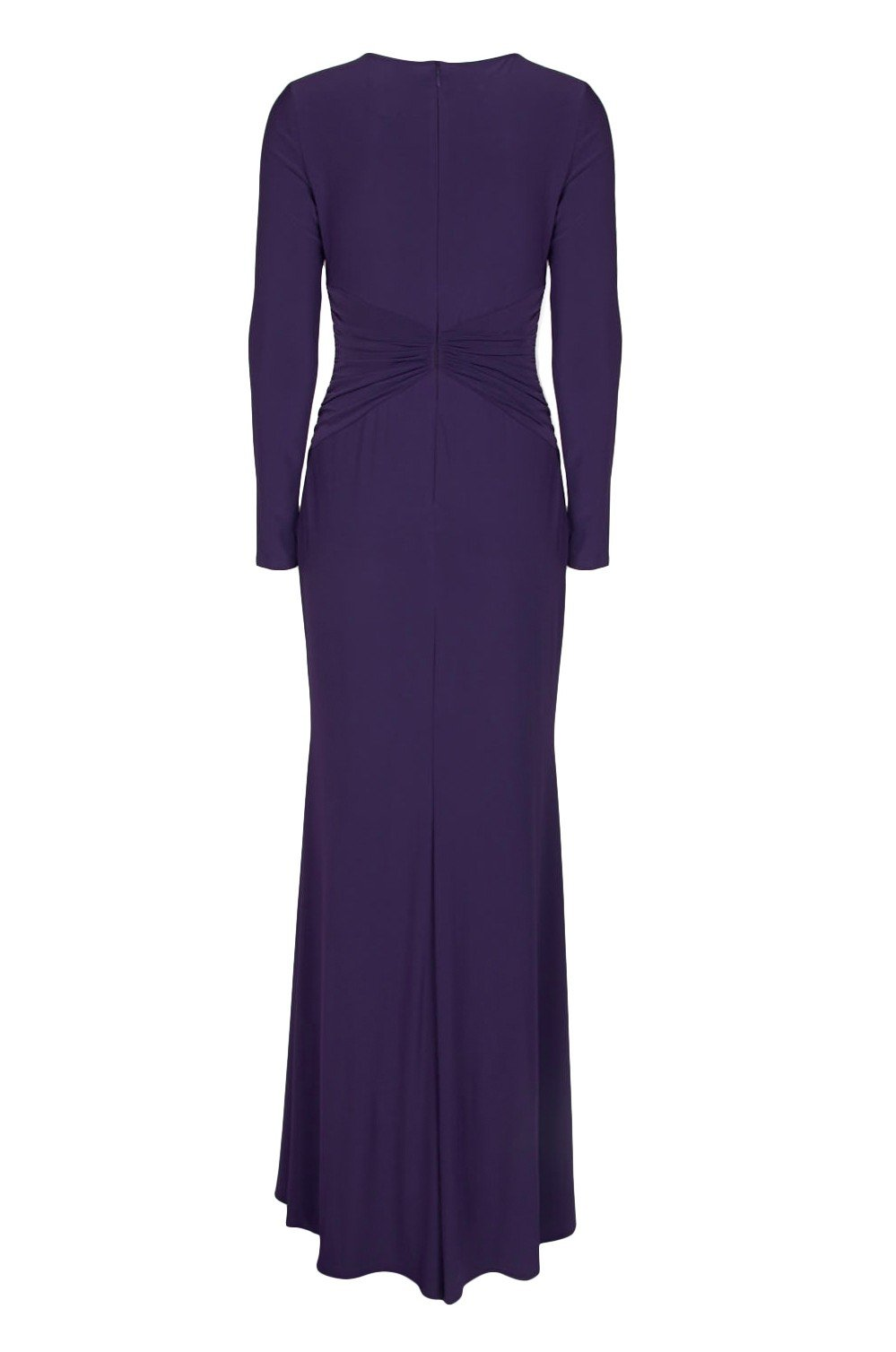 Adrianna Papell - AP1E204090 Long Sleeve Ruched Jersey Sheath Dress In Purple