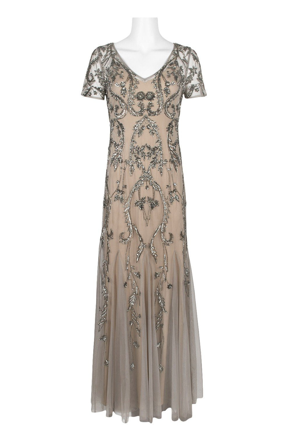 Adrianna Papell - AP1E204586 Embellished V-neck Trumpet Dress In Neutral