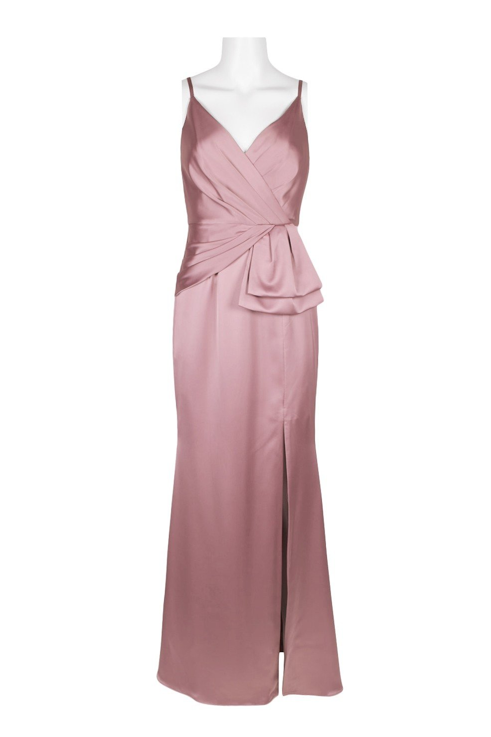 Adrianna Papell - AP1E204704 Pleated V-neck Satin Sheath Dress In Pink