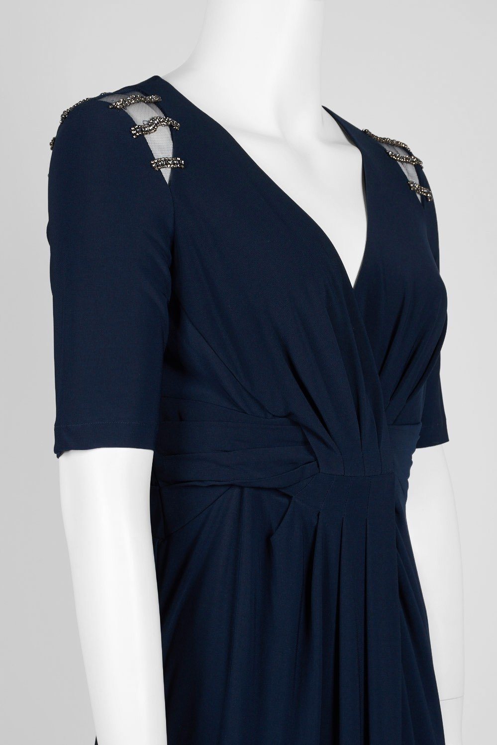 Adrianna Papell - AP1E205409 Embellished V-neck Jersey Sheath Dress In Blue