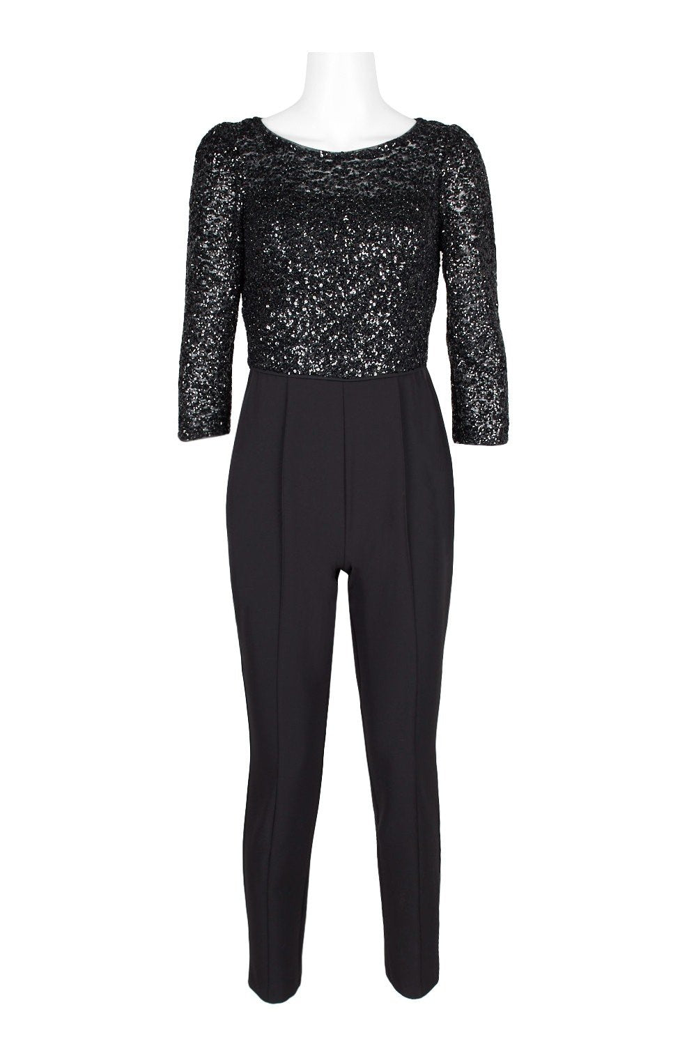 Adrianna Papell - AP1E206237 Sequined Bateau Fitted Jumpsuit In Black