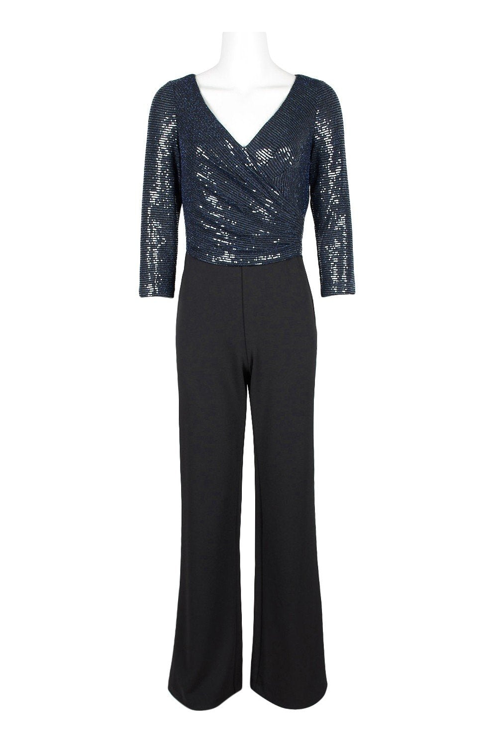 Adrianna Papell - AP1E206289 Sequined Quarter Length Sleeve Jumpsuit In Blue and Black