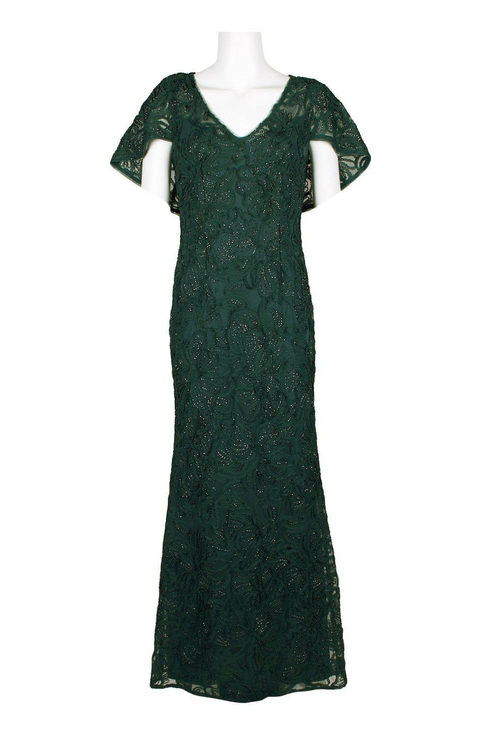 Adrianna Papell - AP1E206303 Embellished Lace Trumpet Dress In Green