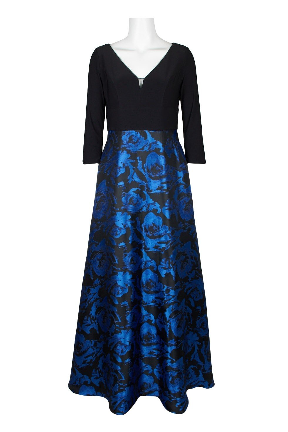 Adrianna Papell - AP1E206803 Floral Print Jacquard A-line Dress In Black and Blue