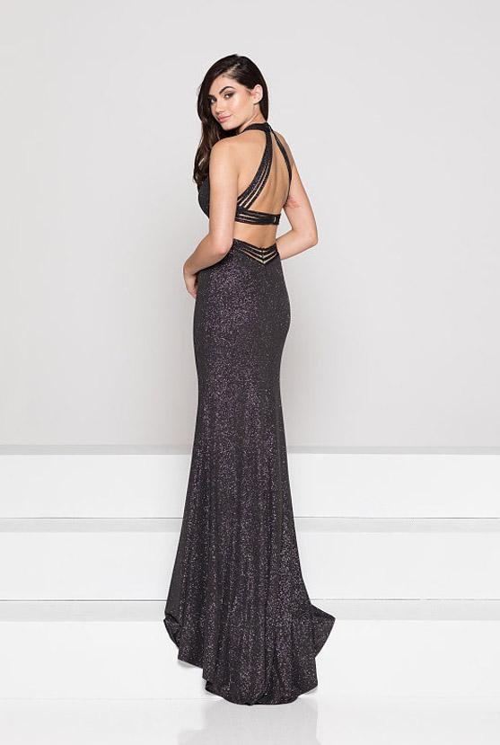Colors Dress - 1937 Plunging Multi-Strap Glittered Jersey Gown In Black and Silver