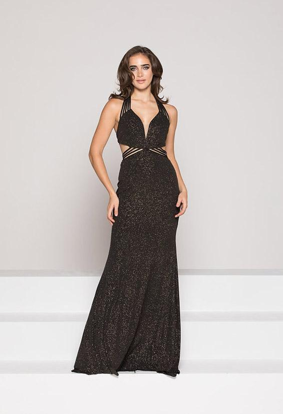 Colors Dress - 1937 Plunging Multi-Strap Glittered Jersey Gown In Black and Gold