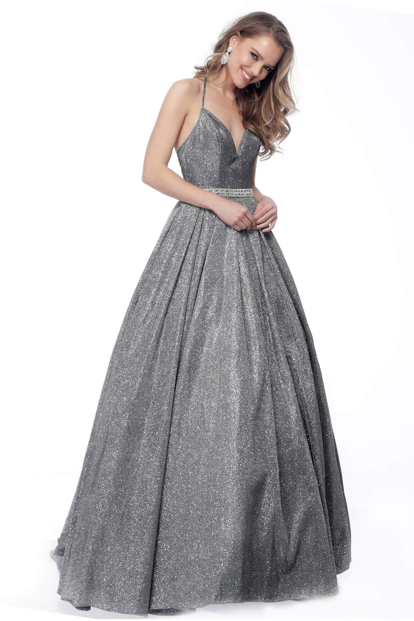 Jovani - 66038 Sweetheart Glittered Ballgown In Gray and Silver