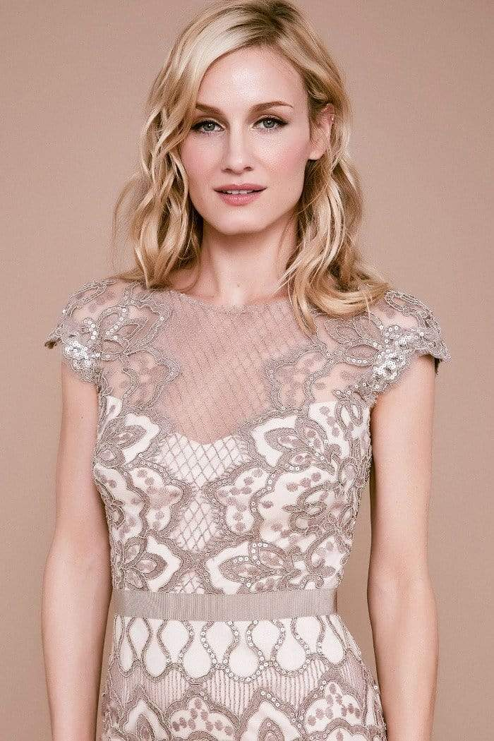 Tadashi Shoji - Sequin Embroidered Sheath Cocktail Dress In Neutral and Pink