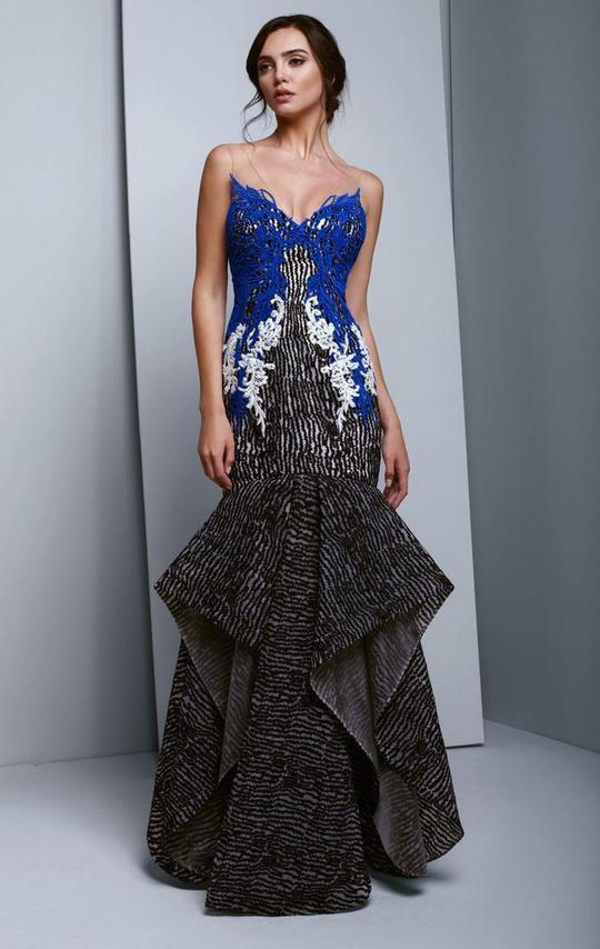 Beside Couture - BC1352 Dropped V Neckline Embroidery Organza Trumpet Dress In Black and Blue
