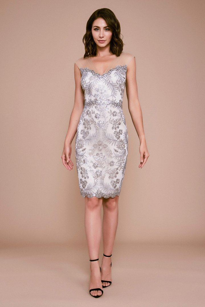 Tadashi Shoji - Petite Engle Embroidered Dress In White and Silver