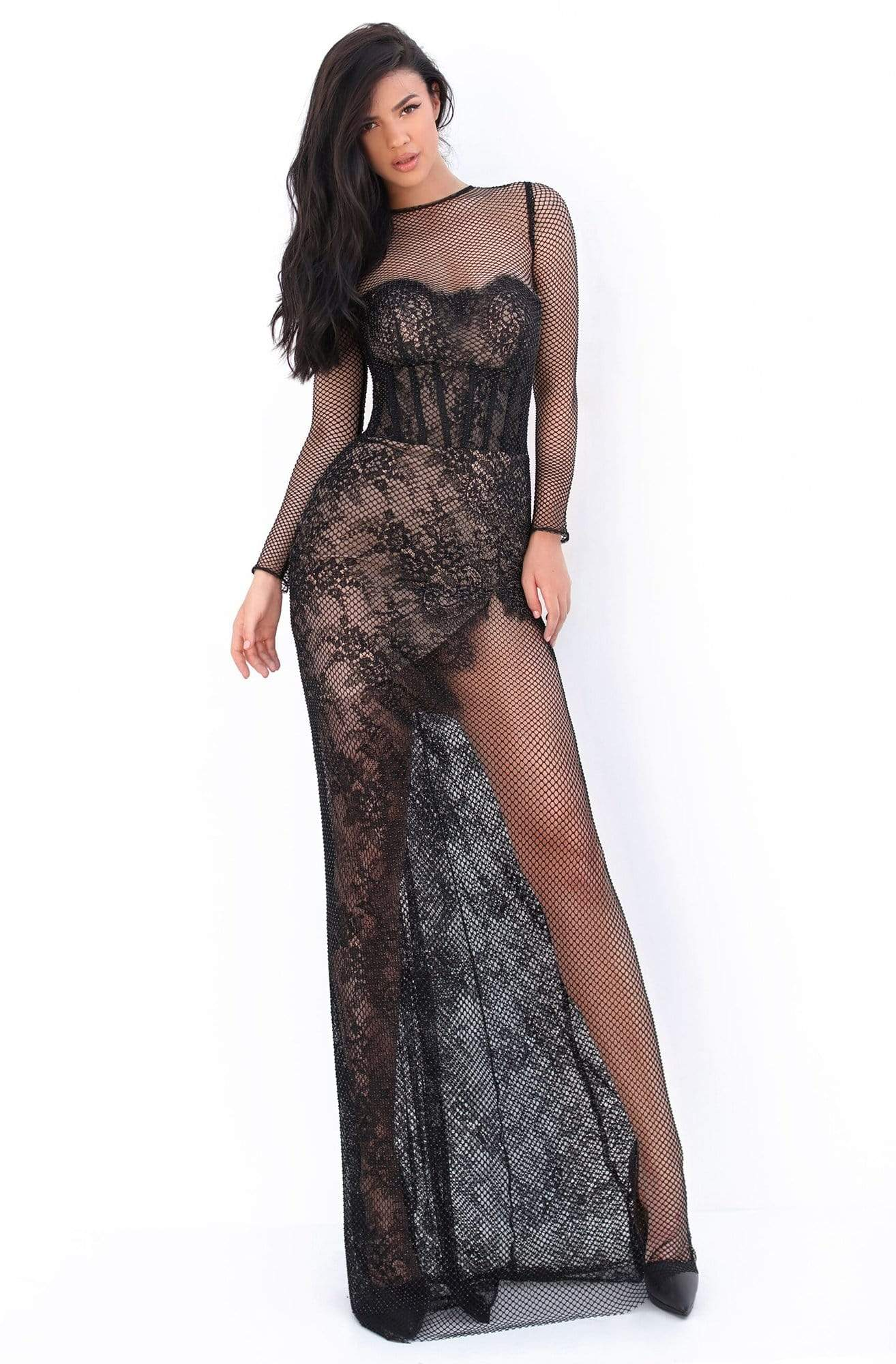 Tarik Ediz - 50673 Long Sleeve Fishnet Draped Lace Gown Prom Dresses