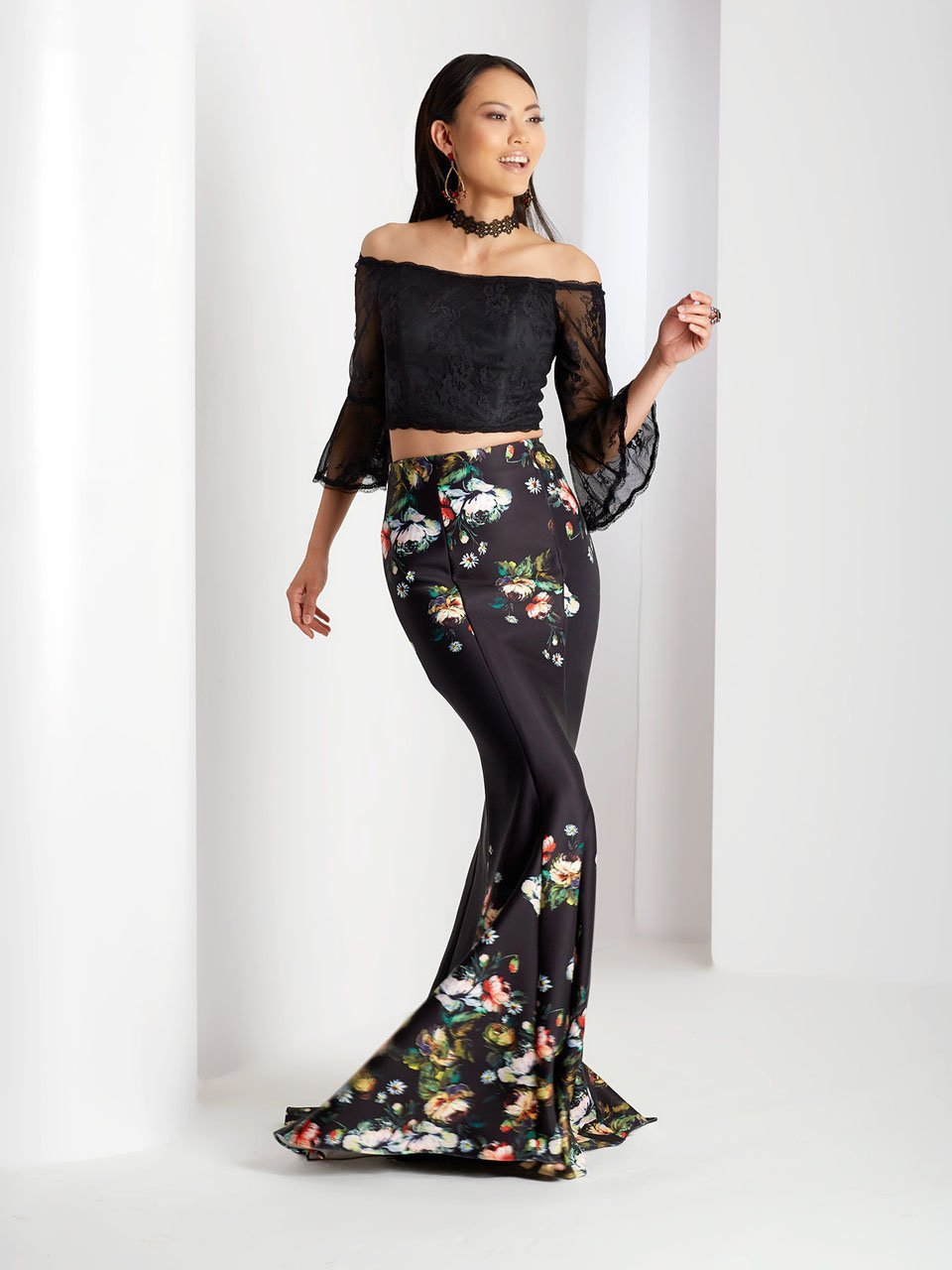 Clarisse Prom - 3566 Lace Bell Sleeve Floral Prom Dress in Black and Print