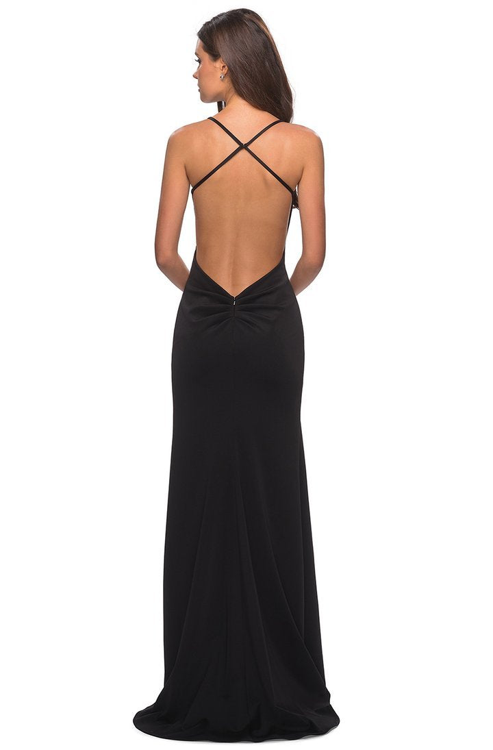 La Femme - 27657SC Long Cross-Strapped Fitted High Slit Dress