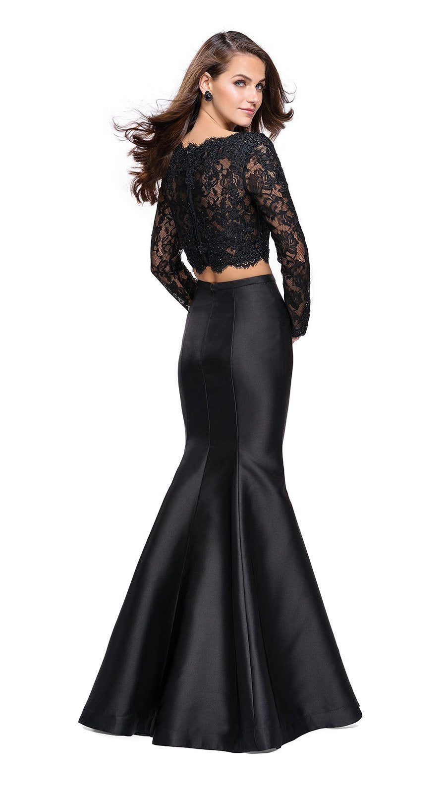 La Femme - 25324SC Long Sleeve Lace Bodice Sleek Mermaid Dress