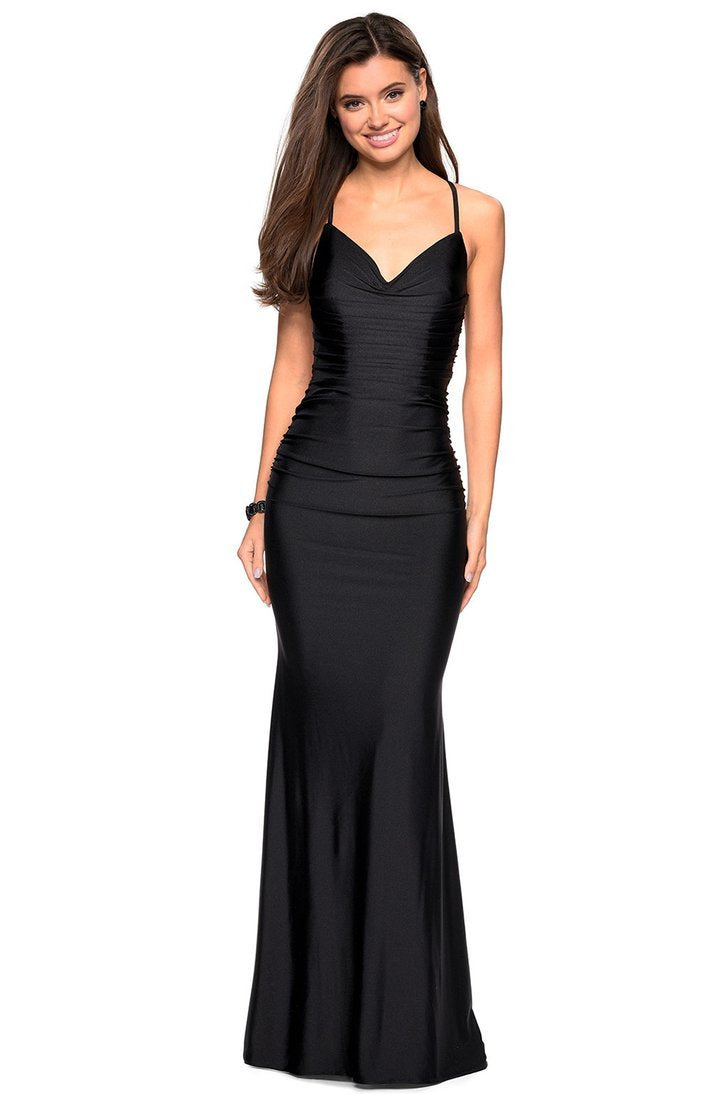 La Femme - 27501SC Deep Sweetheart Ruched Trumpet Dress