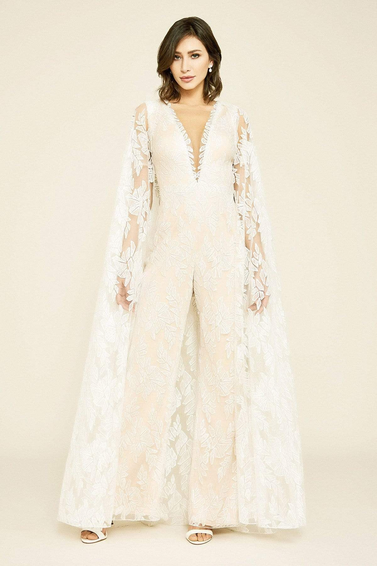Tadashi Shoji - Rupert Lace Cape Jumpsuit In White and Neutral