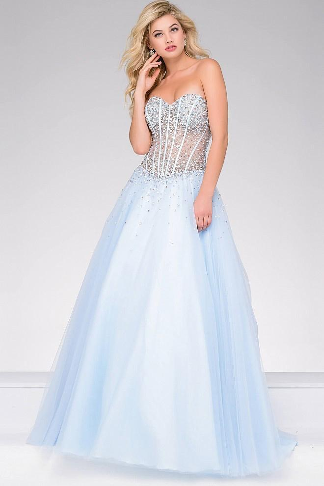 Jovani - Strapless Embellished Tulle Ballgown 47131 In Blue