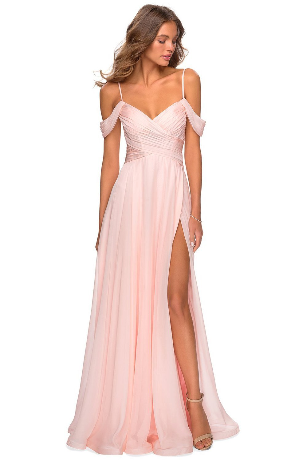 La Femme - Ruched Cold Shoulder A-Line Evening Dress 28942SC In Pink
