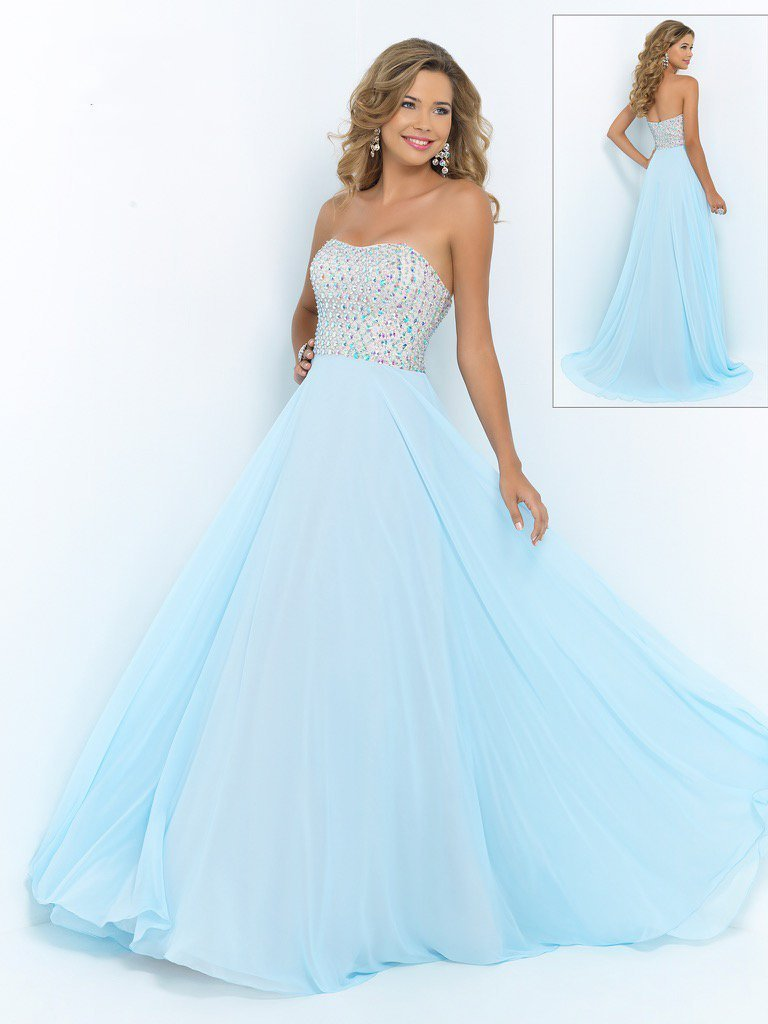 Blush by Alexia Designs - Bejeweled Sweetheart Chiffon Gown X207 Special Occasion Dress 0 / Aquamarine