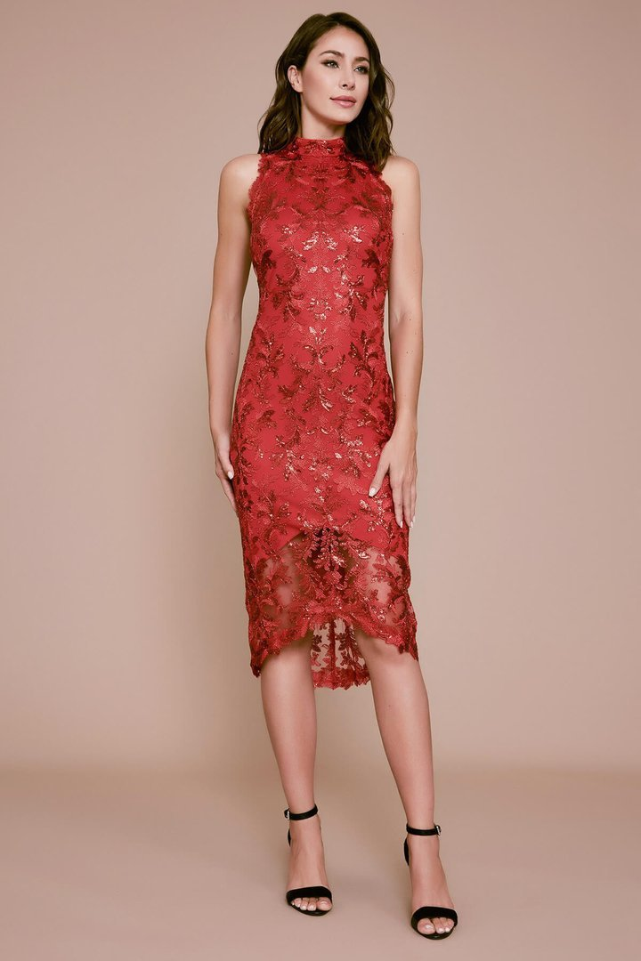 Tadashi Shoji - Sequin Embroidered Midi Chan Dress In Red