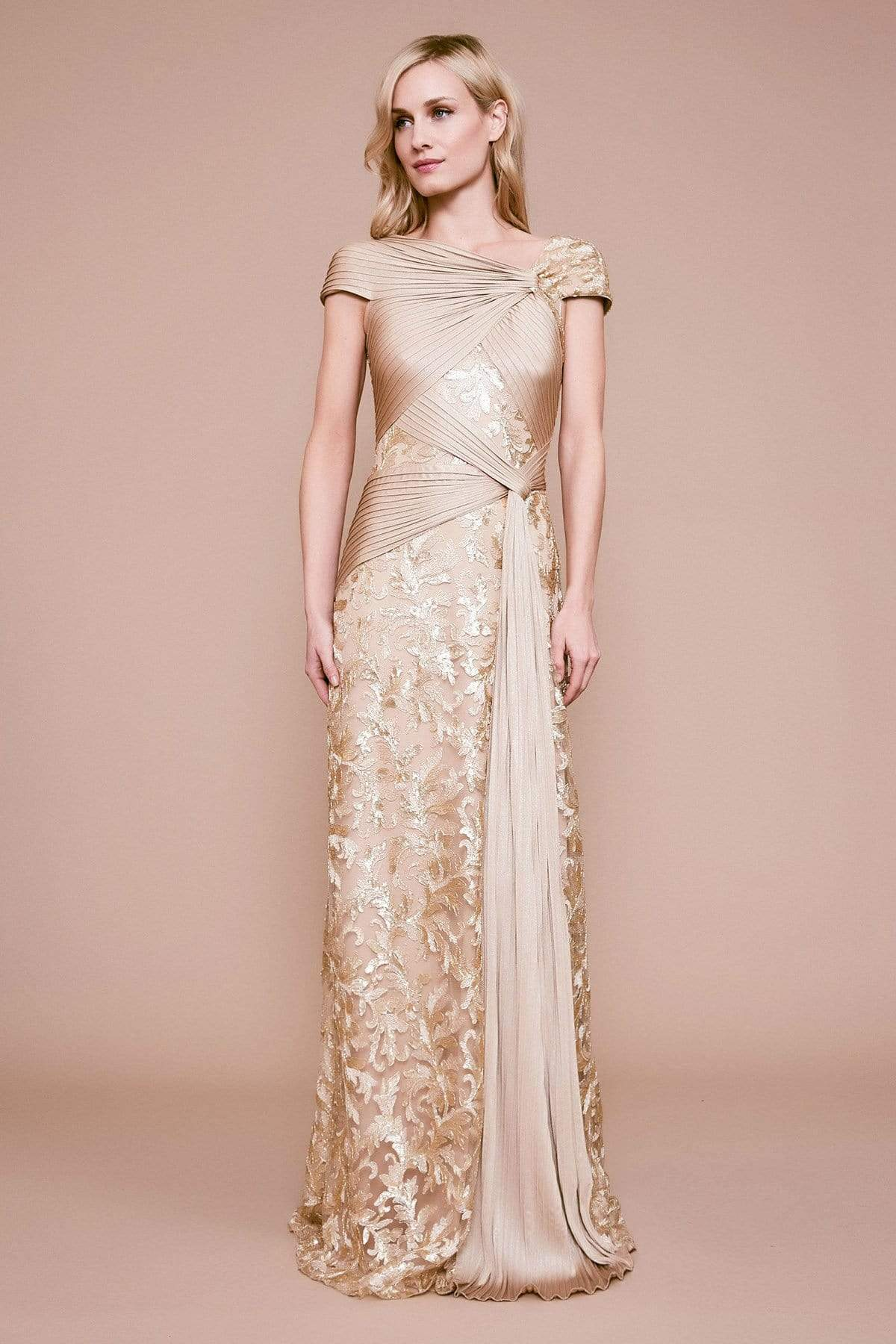 Tadashi Shoji - Anise Draped Pintuck Sequin Gown Evening Dresses 00 / Gold