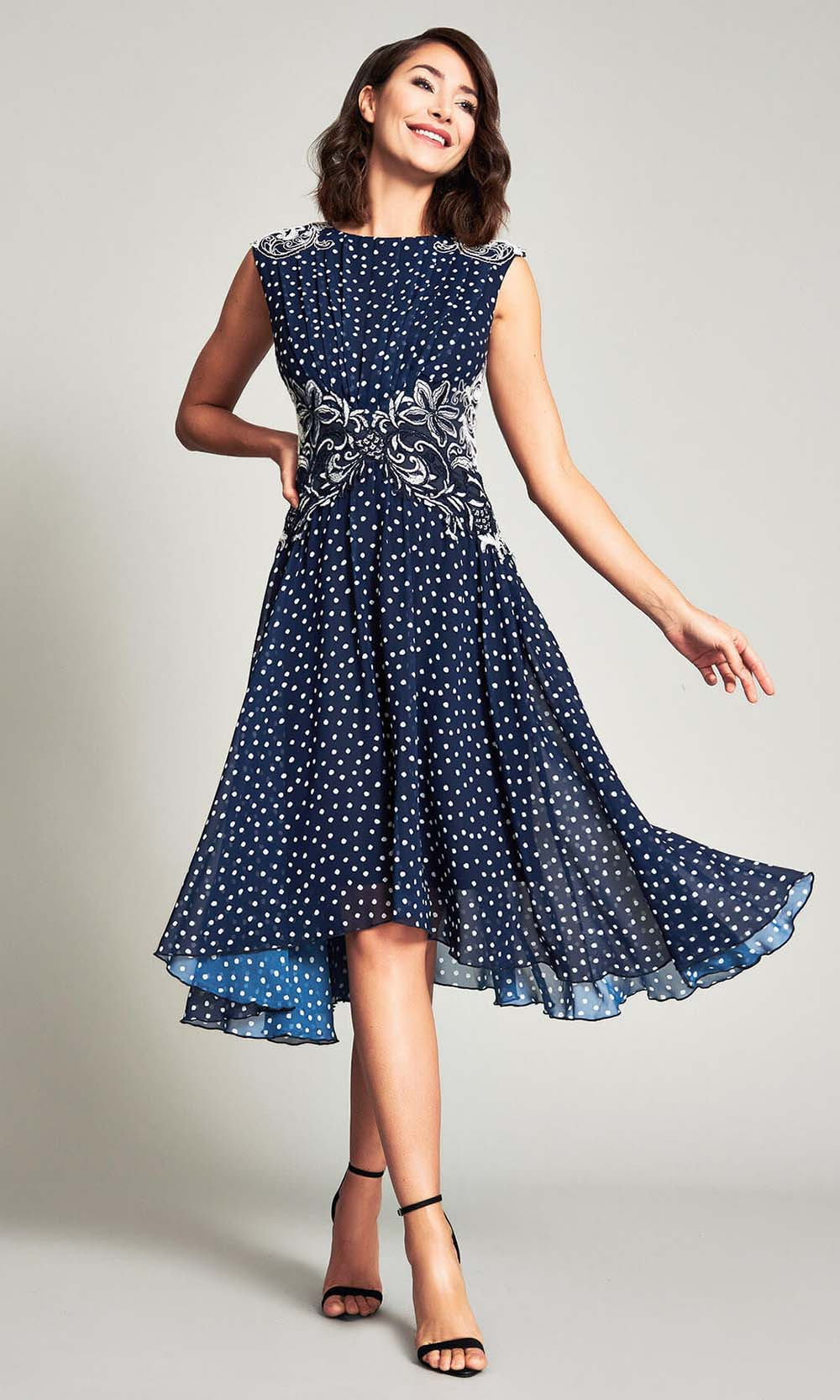 Tadashi Shoji - Maya Printed Georgette Dress Cocktail Dresses 00 / Navy/White