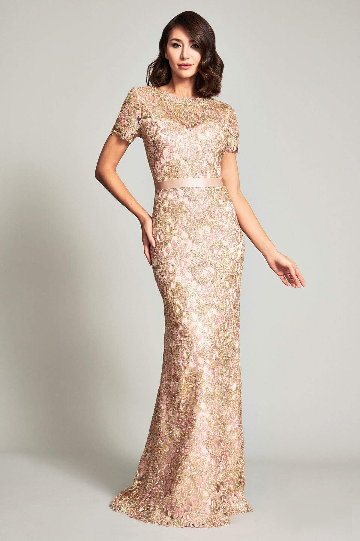 Tadashi Shoji - Caresse Short Sleeve Lace Sheath Dress In Gold